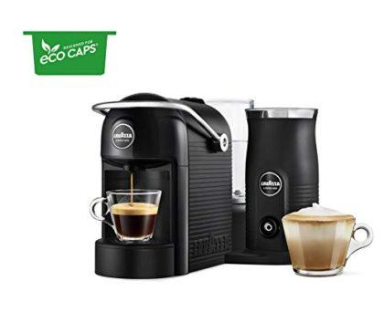 Lavazza A Modo Mio Jolie & Milk Black Coffee Machine, with Milk Frother & 256 Eco Caps Coffee Pods Espresso Lungo Dolce