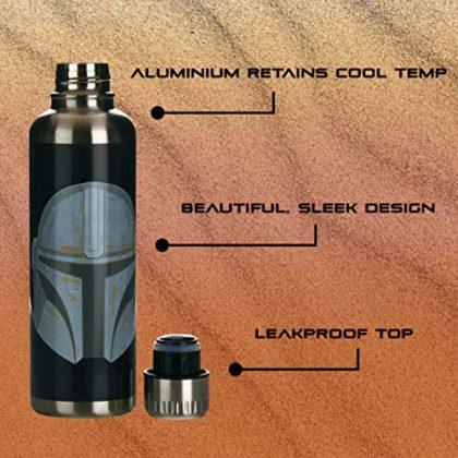 Paladone Mandalorian Metal Water Bottle, Stainless Steel, 500 milliliters
